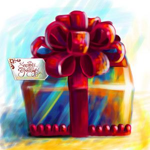 Artistic Painting Of Christmas Gift