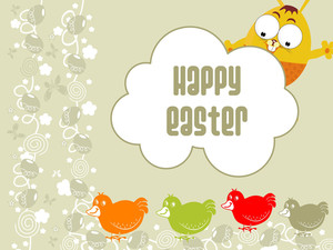 Artwork Background With Cartoon Egg