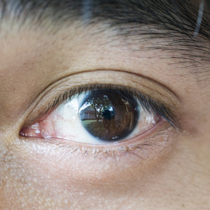 Asian people male the eye close up