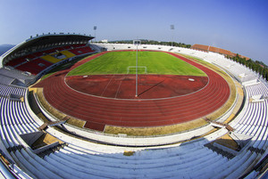Asian sport stadium on top view