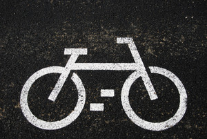 Asphalt With Bicycle Sign