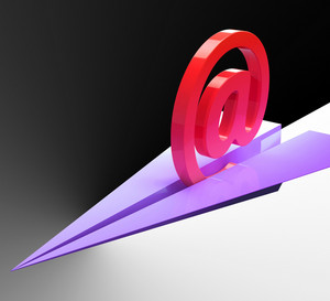 At Sign Aeroplane Shows Correspondence Mail Send