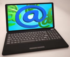 At Sign On Laptop Shows Websites