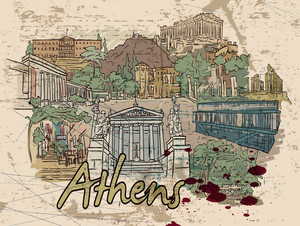 Athens Doodles With Grunge Vector Illustration