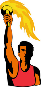 Athlete With Flaming Torch