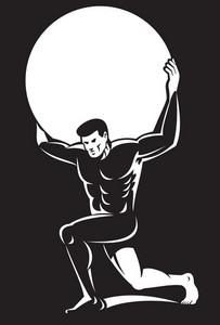Atlas Lifting Sphere Ball On Shoulders