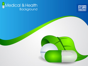 Atural Medical Pills Or Capsule With Green Leaf On Wave Background.
