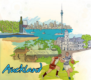 Auckland Doodles Vector Illustration