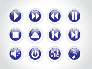 Audio Rounded Button Icons
