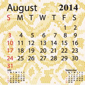 August 2014 Calendar Albino Snake Skin
