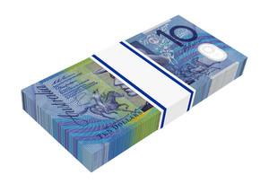 Australian Dollar Isolated On White Background.