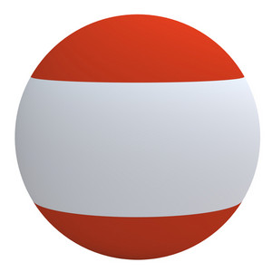 Austria Flag On The Ball Isolated On White.