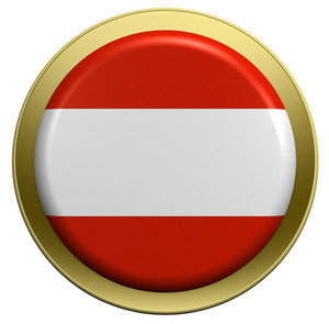 Austria Flag On The Round Button Isolated On White.