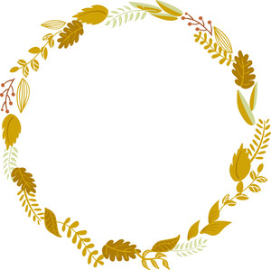 Autumn Floral Frame. Cute Retro Flowers Arranged Un A Shape Of The Wreath Perfect For Wedding Invitations And Birthday Cards