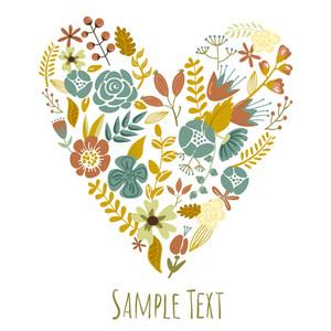 Autumn Floral Heart Card. Cute Retro Flowers Arranged Un A Shape Of The Heart