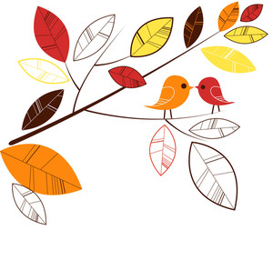 Autumn Leaves And Two Birds Kissing