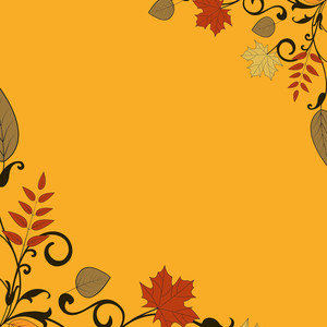 Autumn Leaves On Abstract Background With Text Space