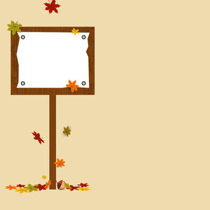 Autumn Season Background With Sign Board And Maple Leaves