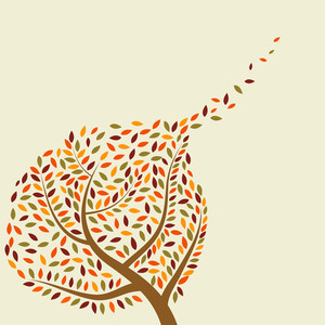 Autumn Tree On Abstract Background With Text Space