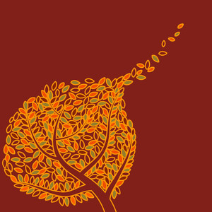 Autumn Tree On Maroon Background