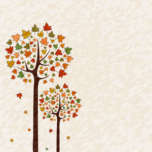 Autumn Trees On Abstract Background