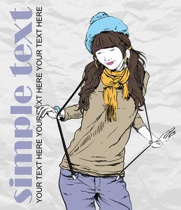 Autumnal Fashion Girl With Beret On A Grunge Background. Vector Illustrator.