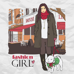 Autumnal Fashion Girl With Little Dog On A Street-cafe Background. Vector Illustrator.