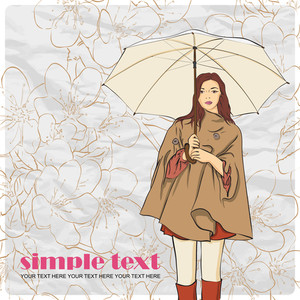 Autumnal Fashion Girl With Umbrella On A Floral Background. Vector Illustrator.