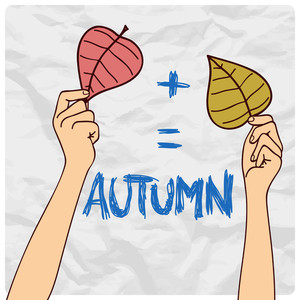 Autumnal Vector Illustration With Hands And Leafs