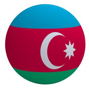 Azerbaijan Flag On The Ball Isolated On White.