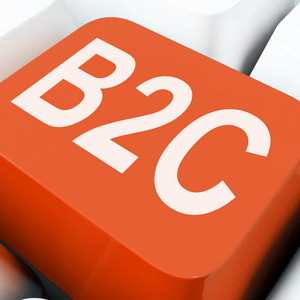 B2c Key Means Business To Consumer Selling Or Buying
