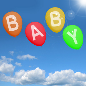 Baby Balloons In Sky Showing Newborn Parenting Or Motherhood