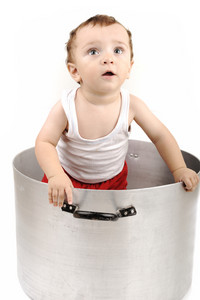 Baby boy in big pot