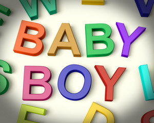 Baby Boy Written In Kids Letters