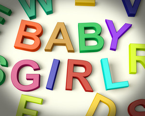 Baby Girl Written In Kids Letters