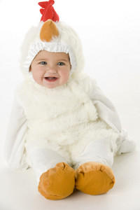 Baby in chicken costume