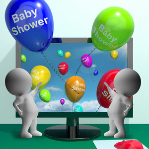 Baby Shower Balloons From Computer Showing Birth Party Invitation