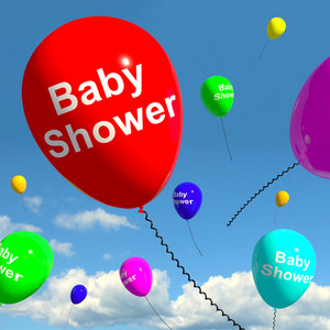 Baby Shower On Balloons In Sky For Newborn Birth Party