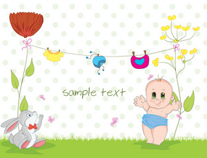 Baby With Rabbit Vector Illustration