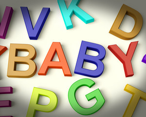 Baby Written In Kids Letters Representing Newborn
