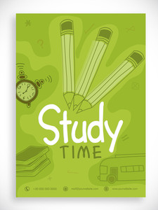 Back to School template banner or flyer design decorated with line art of stationary and bus.