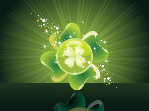 Backgorund With Isolated Shiny Shamrock