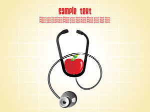 Backgrgound With Stethoscope And Apple