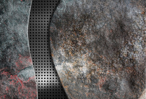 Background Stoun With Metal Grid