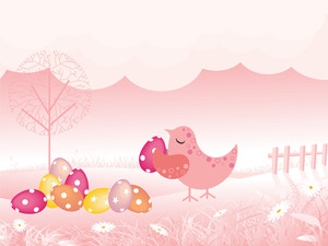 Background With Bird Holding Colorful Egg