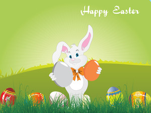 Background With Bunny Holding Eggs
