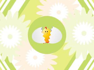Background With Chicken In Broken Egg
