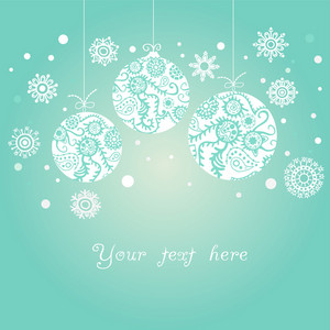 Background With Christmas Balls On Blue