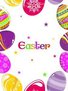 Background With Colorful Decorated Egg Pattern