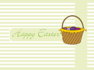 Background With Colorful Egg Basket